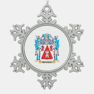 Henries Coat of Arms - Family Crest Snowflake Pewter Christmas Ornament