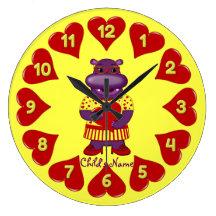 Henrietta Hippo Round Wall Clock-Yellow