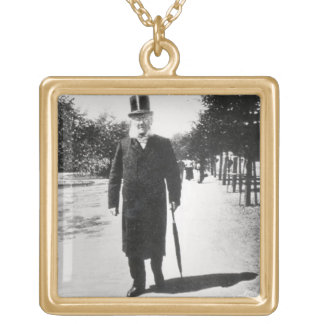 Henrik Ibsen (1828-1906) in Oslo, 1896 (b/w photo) Gold Plated Necklace