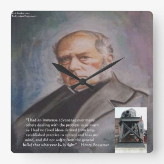 Henry Bessemer & Famous Quote Wall Clock