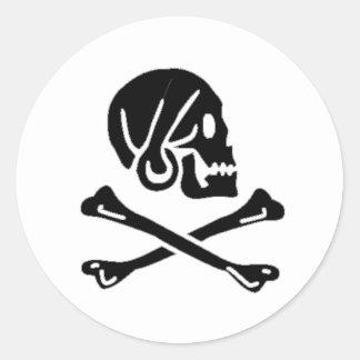 Henry cada bandera de pirata auténtica etiqueta redonda