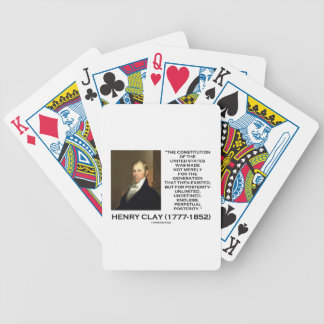Henry Clay Constitution Of United States Posterity Bicycle Playing Cards