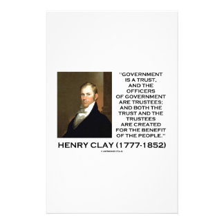 Henry Clay Govt Trust Officers Are Trustees Quote Stationery
