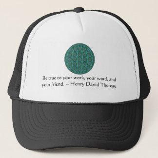 Henry David qoute with primitive tribal design Trucker Hat
