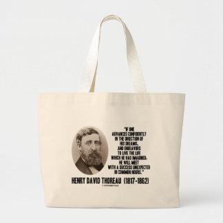 Henry David Thoreau Advance Confidently Dreams Jumbo Tote Bag