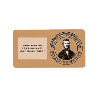 Henry David Thoreau apenado Etiqueta De Dirección