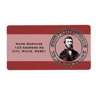 Henry David Thoreau apenado Etiqueta De Envío
