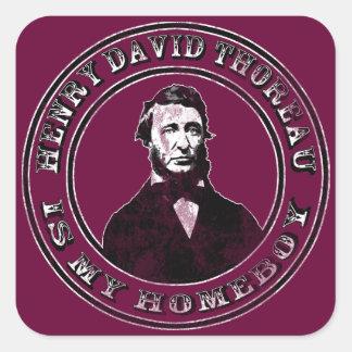 Henry David Thoreau (apenado), pegatinas cuadrados Pegatina Cuadrada