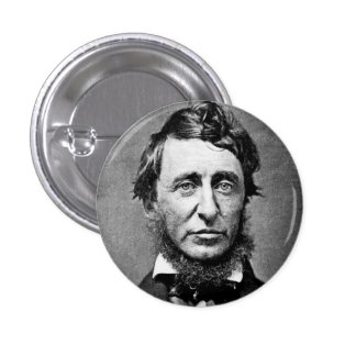 Henry David Thoreau Black & White Portrait Pinback Button