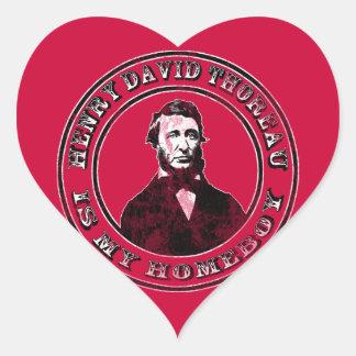Henry David Thoreau (distressed), heart stickers