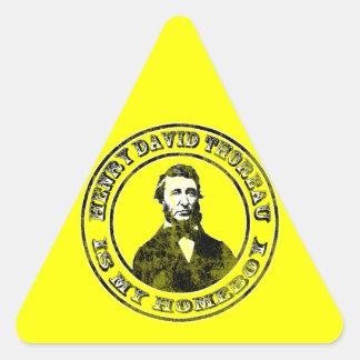 Henry David Thoreau (distressed), triangle sticke Triangle Sticker