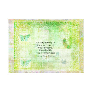 Henry David Thoreau Dream Quote with nature theme Gallery Wrap Canvas