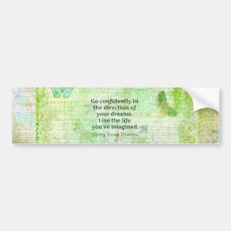 Henry David Thoreau Dream Quote with nature theme Car Bumper Sticker