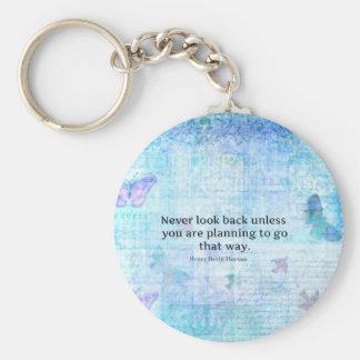 Henry David Thoreau Inspirational quote with art Keychain