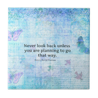 Henry David Thoreau Inspirational quote with art Small Square Tile