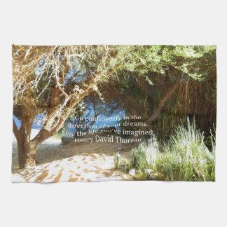 Henry David Thoreau Motivational Dream Quotation Towels