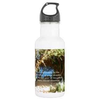 Henry David Thoreau Motivational Dream Quotation Stainless Steel Water Bottle