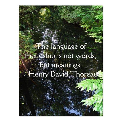 Henry David Thoreau quotation about FRIENDSHIP Postcard