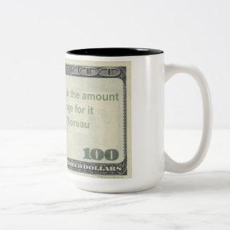 Henry David Thoreau Quote Mug: Price of Life Two-Tone Coffee Mug