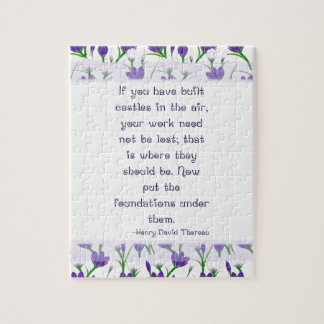 Henry David Thoreau Quote- Spring Crocus Flowers Puzzle