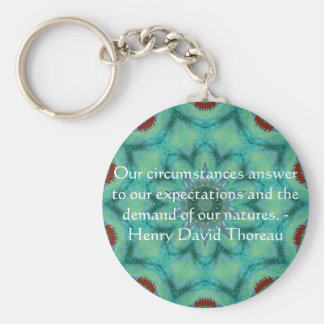 Henry David Thoreau quote with Primitive Design Key Chain