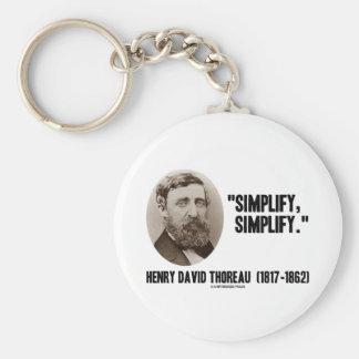 Henry David Thoreau simplifica simplifica cita Llavero Personalizado