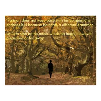 Henry David Thoreau spiritual drum beat Postcard
