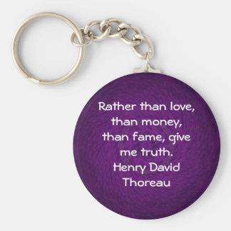 Henry David Thoreau Wisdom Quotation Saying Keychain
