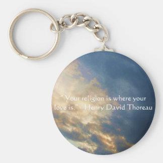 Henry David wisdom quote with wonderful sky Keychain
