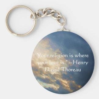 Henry David wisdom quote with wonderful sky Key Chains