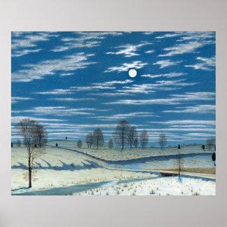 Henry Farrer Winter Scene in Moonlight Poster