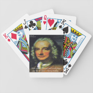 """Henry Fielding """"If Money's Your God"""" Quote Bicycle Playing Cards"""