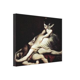 Henry Fuseli - Kriemhild throws herself Canvas Print