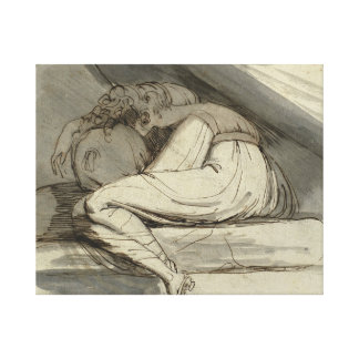 Henry Fuseli - Woman Sitting, Curled Up Canvas Print