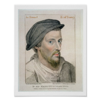 Henry Howard, Earl of Surrey (c.1517-47) engraved Poster