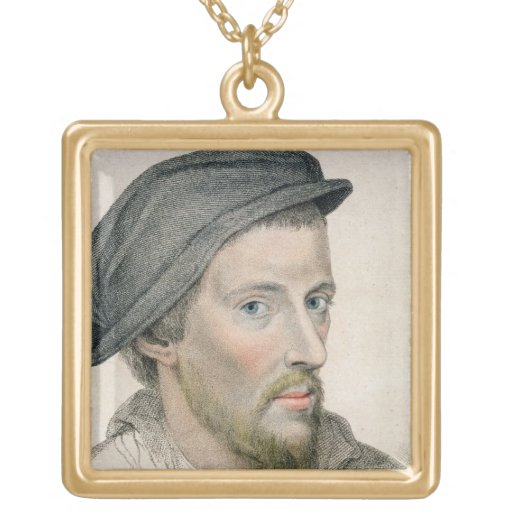 Henry Howard, Earl of Surrey (c.1517-47) engraved Square Pendant Necklace