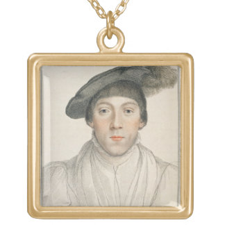 Henry Howard, Earl of Surrey, engraved by Francesc Square Pendant Necklace