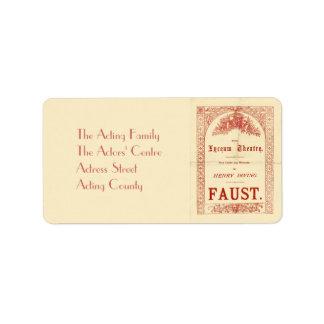 Henry Irving's Faust Address Label