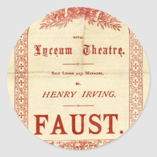 Henry Irving's Faust Classic Round Sticker
