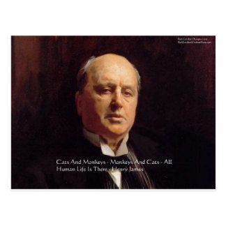 """Henry James """"Monkeys & Cats"""" Wisdom Quote Gifts Postcard"""
