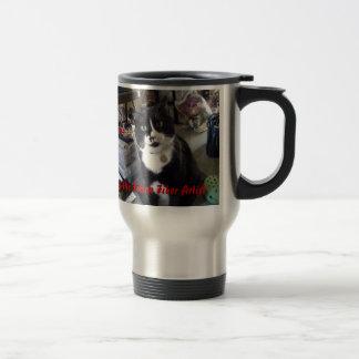 Henry la taza felina del artista de la fibra