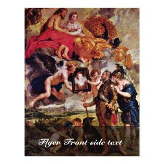 Henry recibe el retrato de Maria De Medici cerca Tarjetón