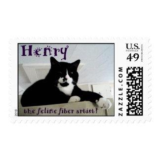Henry the Feline Fiber Artist U. S. postage stamps
