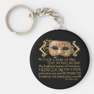 Henry V Quote (Gold Version) Basic Round Button Keychain
