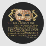 Henry V Quote (Gold Version) Classic Round Sticker