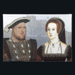 "Henry VIII and Ann Boleyn Cloth Placemat<br><div class=""desc"">Image of Henry VIII and His wife Ann Boleyn with Dover castle in the background Design by Richard Hiatt</div>"