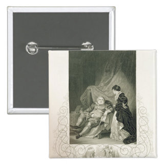 Henry VIII and Catherine Parr, in the play Henry V 2 Inch Square Button