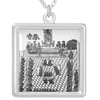 Henry VIII  and Parliament in 1523 Silver Plated Necklace