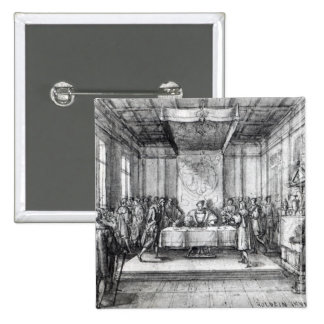 Henry VIII in his privy chamber 2 Inch Square Button