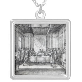 Henry VIII in his privy chamber Silver Plated Necklace